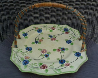 Platter with Wicker Handle. Majolica Cookie Tray Plate. Vintage 1940s. Made in Japan. Blue Pink Green Flowers. Cottage Shabby Chic Decor.