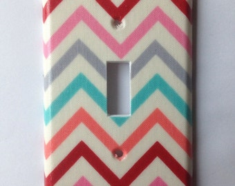 Chevron Light Switch Plate / Coral And Gray Decor / Coral And Gray Nursery / Coral And Turquoise Decor / Coral Nursery Decor