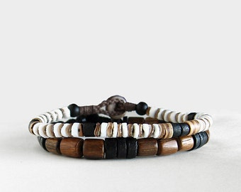Mens Beaded Surf Bracelet Set, Shell, Wood, Coco, Surf, Buttoned