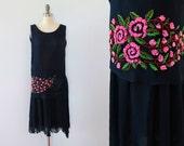 1920s Dress / 20s BEADED Flapper Dress / Fringed Tassels XS