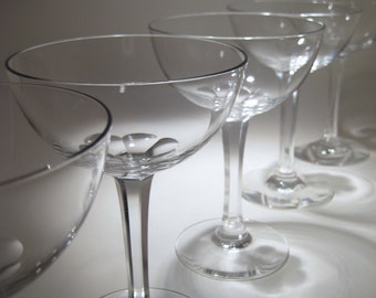 5 Crystal Champagne Coupes with Faceted Stems