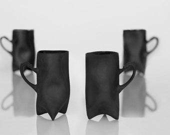 Black Porcelain cups set of four , ceramic cups handbuilt coffee cups or tea cups by Endesign