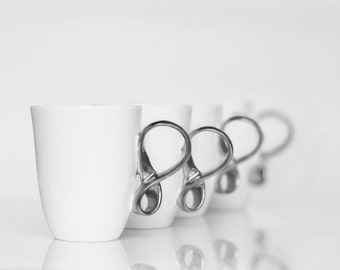 MOBIUS cups, set of four, white and silver china mugs for coffee or tea handmade by ENDE