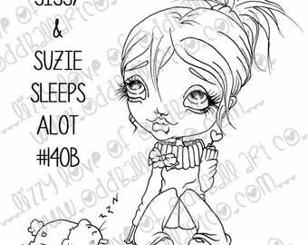 INSTANT DOWNLOAD Digi Stamp Digital Image Kawaii Friends ~ Sissy N Suzie Sleeps Alot Image No. 140 & 140B by Lizzy Love