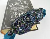 Rhinestone Flapper Headband, Peacock Beaded Art Deco Headpiece 1920s Party Flapper Headpiece, Blue Gatsby Headband