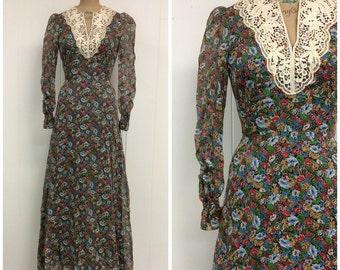 1970s Floral Maxi Dress 70s Lace