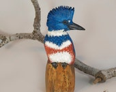 Belted Kingfisher made from Aspen Wood to Order