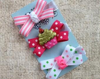Mini Bow Hair Clip Trio-No Slip Hair Clips-Cupcake-Pink and Green