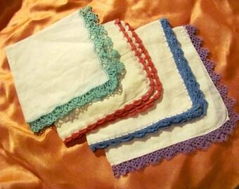 Hankies - Lot of 4 Beautiful Assorted Vintage Handkerchief Crochet Edges