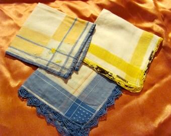Hankies - Lot of 3 Beautiful Assorted Vintage Handkerchief Crochet Edges
