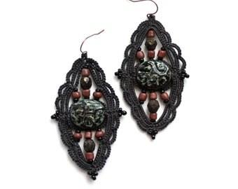 Charcoal Dark Czech Glass Bead Dangle Fiber Tatting Earrings