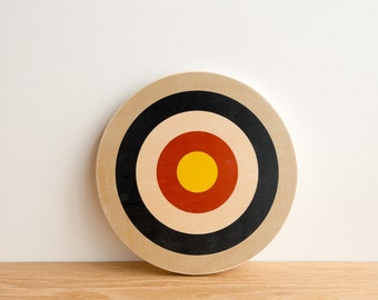 Target Circle Art Block - Grey/Navy/White/Red/Yellow - archery target, bull's eye, vintage look, colorway #12