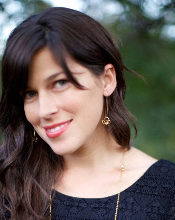 Dangle Love Knot Earrings / Gold Dangle Earrings / Sterling Silver Dangle Earrings / Dangle Twist Earrings / Bridesmaid Earrings
