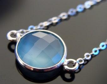 Bezel Set Sky Blue Chalcedony Sterling Silver Link Necklace