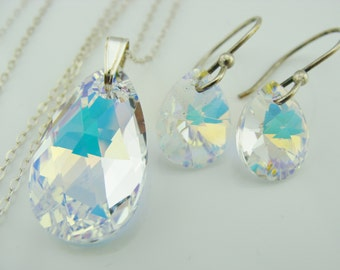 Swarovski Crystal AB Drops Sterling Silver Earrings and Necklace Set