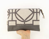 Geometric color block flat bag, leather Pouch - Neutral grey and cream beige - Pencil case, cosmetics bag, handbag organizer
