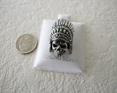 Solid Skull Indian Cheif Pendant in Sterling Silver, cool gothic pendant