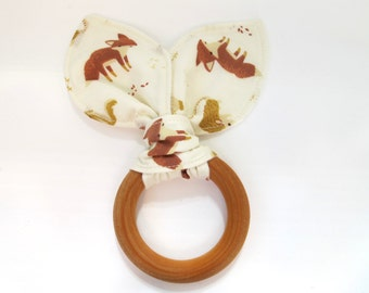 Organic Wooden Baby Teething Ring/ Teething Ring -  Woodland Fabric - Foxes, Raccoons, Hedgehogs, Squirrels - Organic Flannel