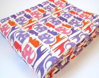 Mod Zoo Baby Blanket - Elephants, Giraffes, Rhinos - Purple, Orange and Pink Animals - Cream Minky Dot - 26 x 30