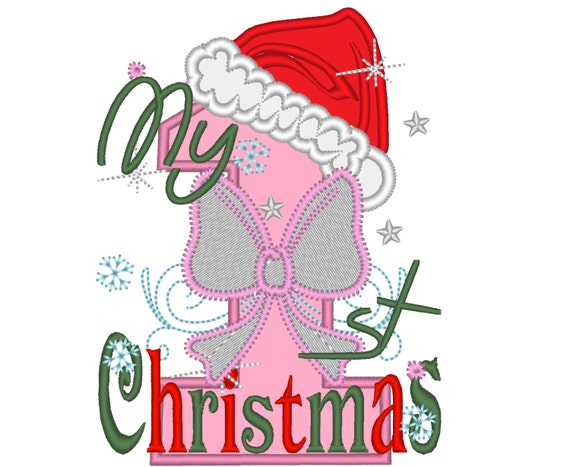 My first Christmas embroidery applique design 1st xmas girl