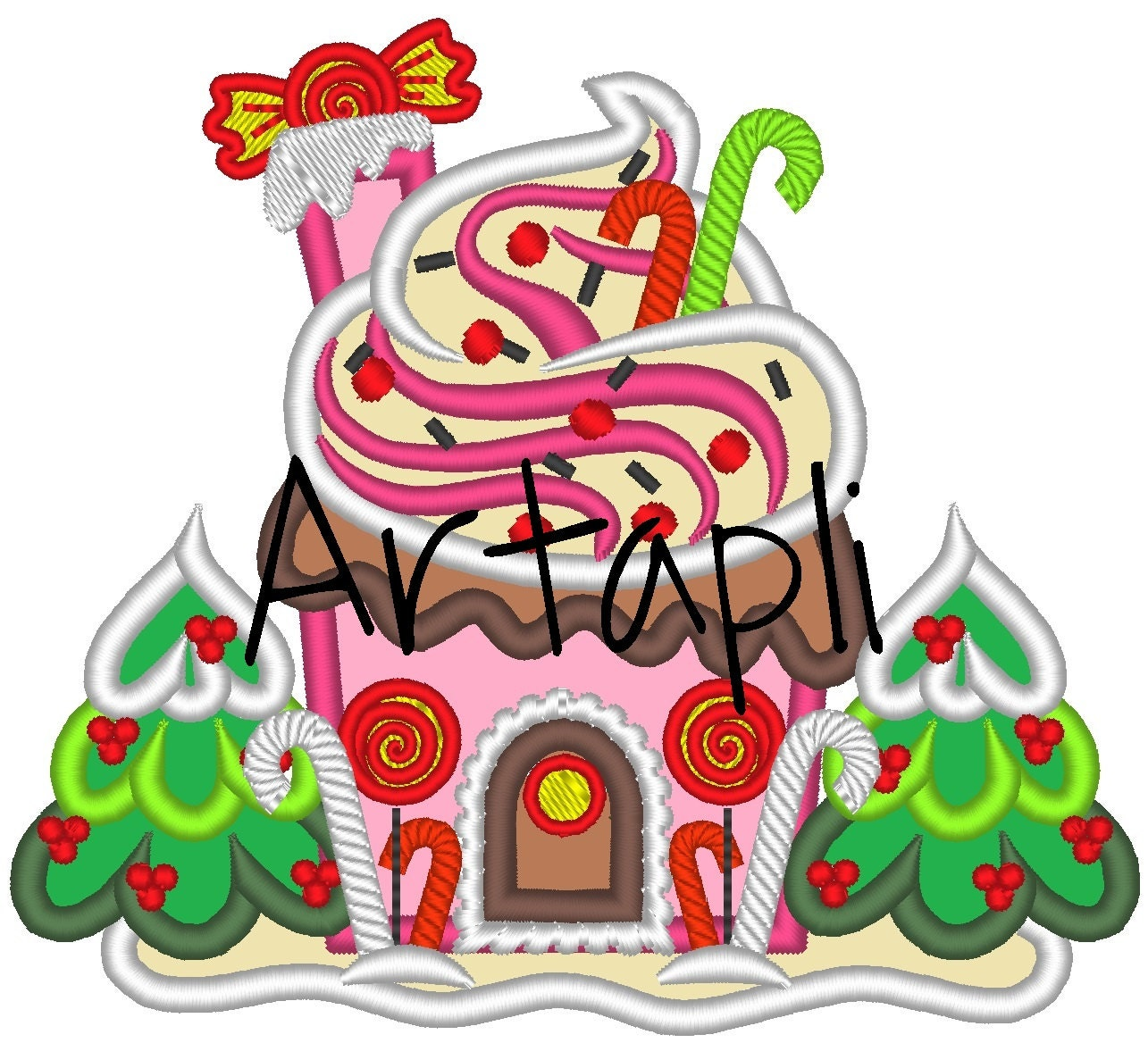 Sweet Christmas Ginger House Machine Embroidery Applique