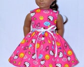 Fits American Girl Doll - Handmade Doll Clothes - Pink Cloudy Day