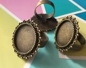 10pcs  Metal Antiqued Bronze  Adjustable  Rings with  20mm Round Edge Settings