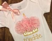 Personalized Cupcake Creeper - Cupcake Shirt - Pink and Gold - Personalized 1st Birthday Set - Cupcake Creeper - 1st Birthday Shirt