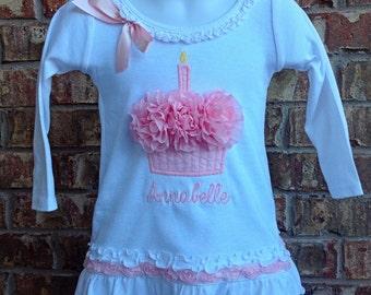 Personalized Birthday Dress - Cupcake Dress - 1st Birthday Dress - Birthday Dress - Boutique Dress - Couture Dress