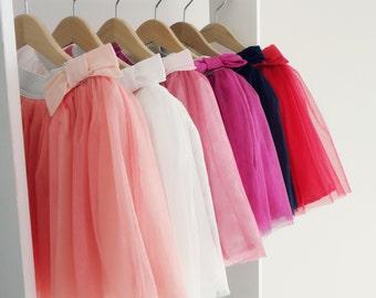 Little Girl Tulle Skirt, Party Tulle Skirts with Glitter or Silver belt, Soft Tulle Skirt for girls, Tutu Skirt SIZE 4-6Y