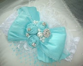 New Tiffany Blue and White Dupioni Silk Bow, Baby Headband, Le Petite Jardin, Wedding Headband, Infant Headband, Easter Headband
