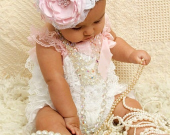 Baby Pink Couture Baby Headband, Infant Headband, Photo Prop, Easter Headband, Children, Le Petite Jardin, Accessories