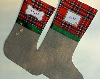 Tartan Christmas stockings - red, green, tartan, plaid,  burlap, linen