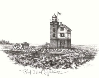 Round Island Lighthouse Art Print- Michigan- Vintage Look Black and White Lithograph