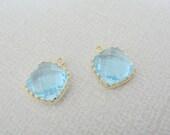 Jewelry Supplies, Gold plated Square Glass Drop Pendant, aquamarine blue framed Glass Stone charm, light aqua bead, 9 mm, 2 pc