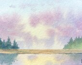 Original ACEO watercolor painting - Sunrise reflected