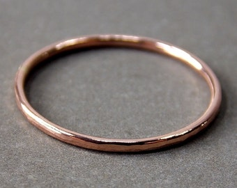 14K Rose Gold Ring, Extra Skinny Rose Gold Stacking Ring, Solid 14K Rose Gold Ring - Made to Order