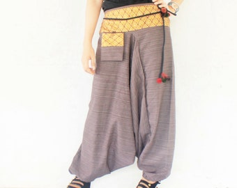 brown  with Tha ibatik sarong decored on  waist  harem pants hand weave cotton,yoga,spa,hippie, bohemian,  size S-M,unisex pants.