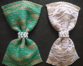 Lace and Burlap bow