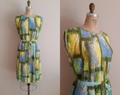 Vintage 1960s Dress / Pleated Day Dress / Green, Yellow, Blue / Large XL Plus Size