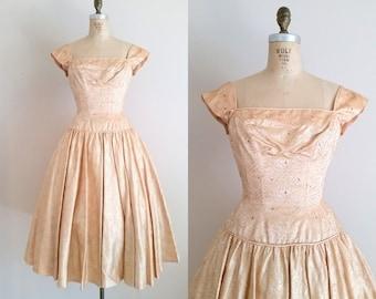 Vintage 1950s Cocktail Dress / Princess Dress / Peach and Gold / 50s Prom Dress / XS