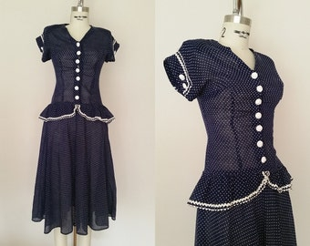 Homefront Sweetheart Dress / Vintage 1940s Dress / Blue and White Polka Dot / 40s Peplum Dress / XXS