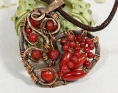 Wire Wrapped Pendant  Natural Red Coral Pendant Wired Copper Jewelry