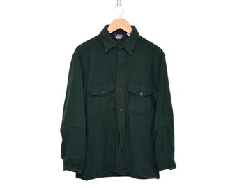 Vintage Woolrich Dark Forest Green Classic Wool Shirt - Hemmed, Made in USA