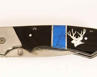 Elk Ridge Pocket knife with custom Silver Mule deer head inlay