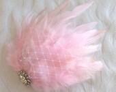 Wedding hair fascinator blush pink feather hair clip bridal hair accessories