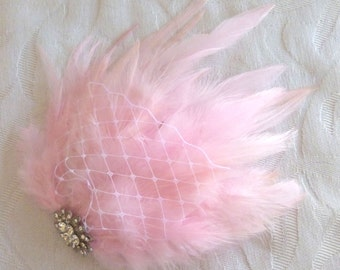 Wedding hair fascinator blush pink feather hair clip bridal hair accessories