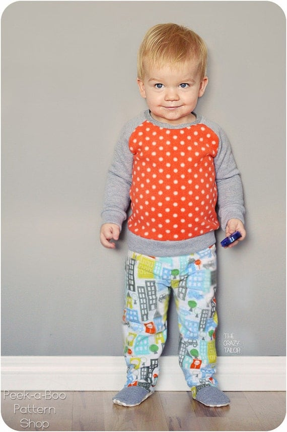 Happy Feet Pajamas Pattern: 2-piece footed pajamas footed