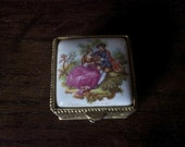 Vintage Tiny Decorated Dressing Table Pill Trinket Jewelry Box Pillbox / English Shop