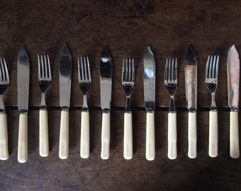 Vintage English 6 Forks 6 Knifes With Bone-Like Handles Cutlery Set circa 1940's / English Shop